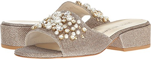 Stuart Weitzman Women's Decorslide Slide Sandal, Platinum, 7 Medium US - Stuart Weitzman Gold Sandals