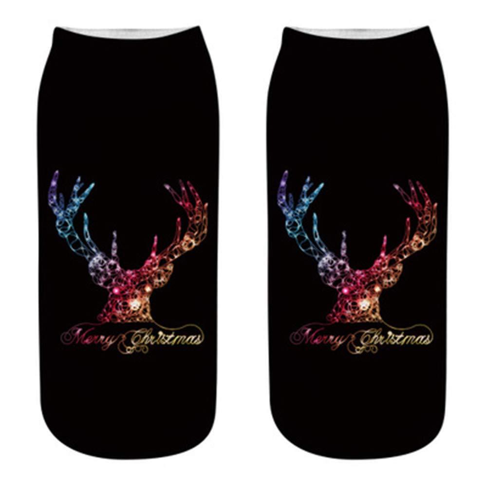 Hengshikeji Womens Christmas Cotton Sock Slippers Short Print Ankle Crew Socks Winter Ladies Casual Compression Socks