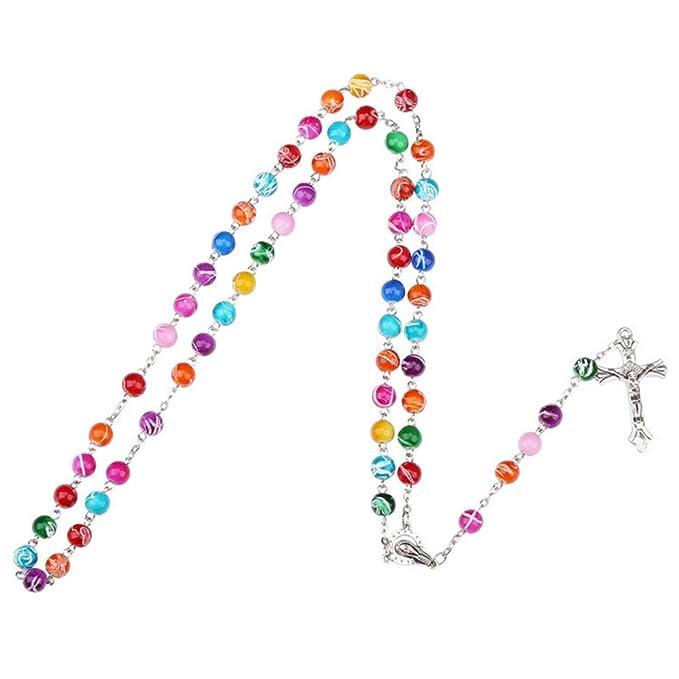 Fontee® Collar Católico para Mujer, Collar Cruzado Rosarios Católicos Colgante de Jesús, Mejor Regalo para Pascua, Día de Acción de Gracias y Día de Navidad