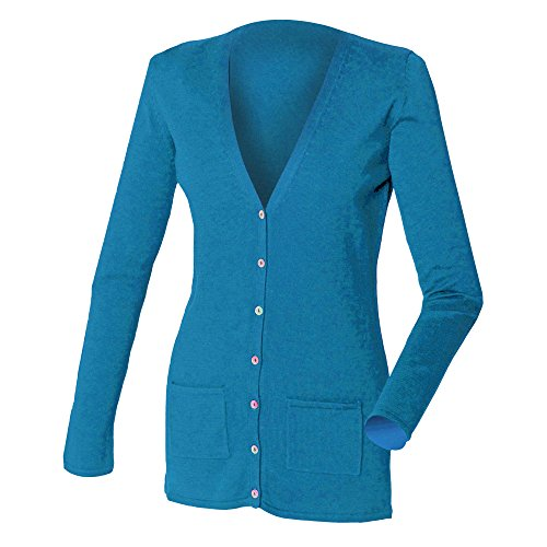 Henbury Ladies/Womens V-Neck Button Fine Knit Cardigan (4 US) (Royal)