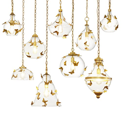 Docheer Vintage Rust Metal and Glass Ceiling Pendant Light for Kitchen Island, Bedroom, with Gold Iron Butterfly Decor, Glass Gold Chandelier for Dinning Room Home Decoration by Docheer (Image #9)