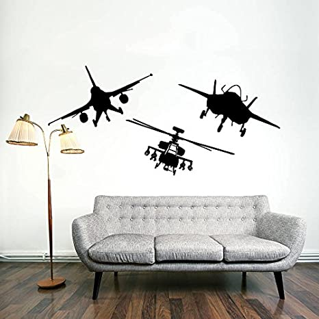 Para pared de aeronaves militares Avión Fighter Jet Copter helicóptero de aviación regalo para niños dormitorio murales vinilo adhesivo de Vinilo para Pared: Amazon.es: Hogar