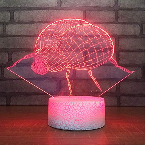 Bella House Lovely Visual Ladybug 3D Remote Control Optical Illusion Night Light Crackle Paint Base Table Desk Lamps 7 Colors Change Glow LED Art Sculpture Beside Lights Toy Gift Acrylic Flat