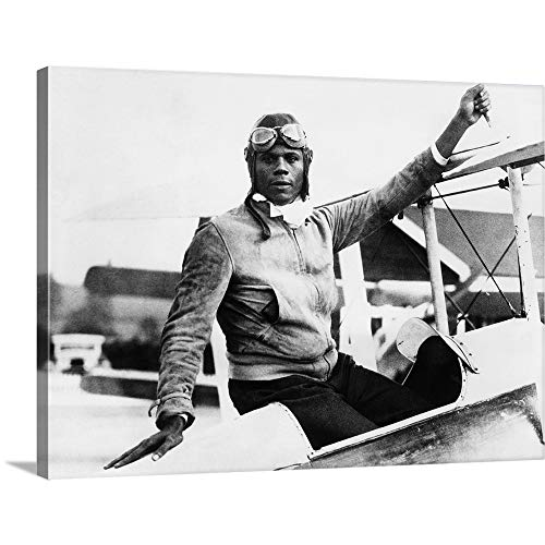 GREATBIGCANVAS Gallery-Wrapped Canvas Entitled Hubert Julian at Abridge Aerodrome, in Essex, England by 24