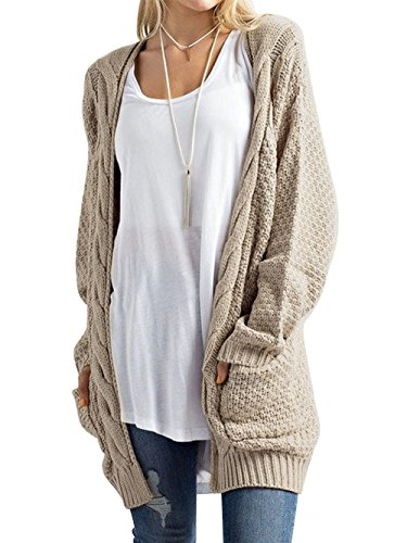 (DYLH Women Dress Long Cardigans Cashmere Pullover Sweater Coat Jacket Plus Size Khaki)