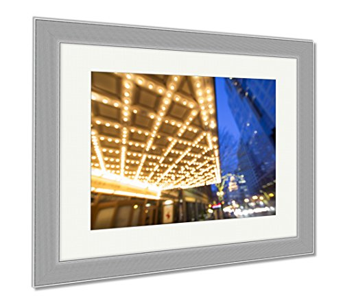 Ashley Framed Prints Portland Downtown Broadway Entertainment District At Night, Wall Art Home Decoration, Color, 26x30 (frame size), Silver Frame, - Shopping Or Downtown Portland