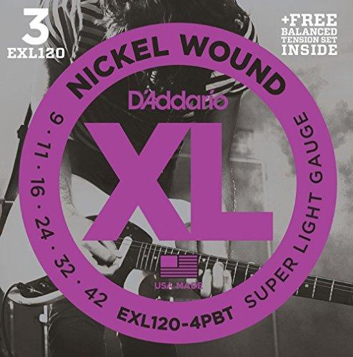 D'Addario EXL120 Bonus 3 Pack With Balanced Tension Set, Super Light, 9-42, 4 ()