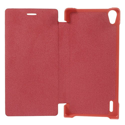 JUJEO Slim Left and Right Open Leather Case for Huawei Ascend P7 - Retail Packaging - Red