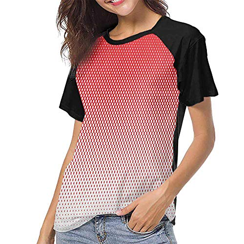 Red,Custom T-Shirt Fashion Style S-XXL(This is for Size Large) Retro Style Pointillism Art Pattern with Half Tone Effect Dotted and Ombre Inspi,Women Print Tees