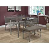 Monarch Specialties Cappuccino Finish Wood and Silver Metal Corner Dining Set, 3-Piece