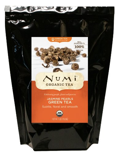Numi Organic Tea Jasmine Pearls, Green Tea, Loose Flowering Tea Buds, 16 Ounce Bulk Pouch
