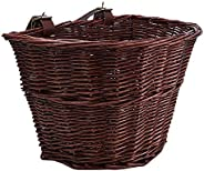 freneci Wicker D-Shaped Bicycle Basket Portable Shopping Basket Mountain Bike Vegetable Basket Front Basket