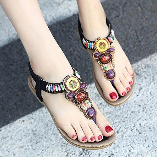 femeninas damas Albaricoque de de planos Casual de con mujeres mujer Tamaño UK7 zapatos Negro Color Zapatos colores HAIZHEN Para EU40 CN41 Sandalias Zapatos 4 verano qwY4xC
