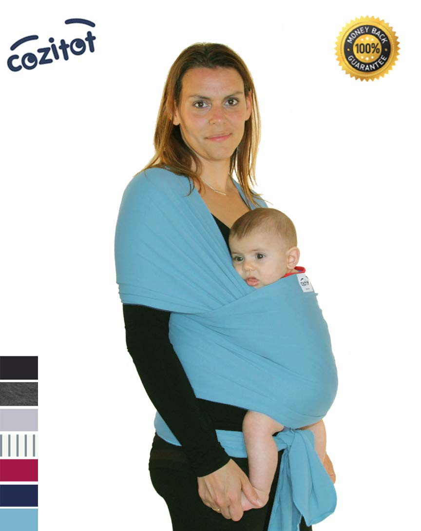 Aqua Blue Baby Sling Carrier Wrap by Cozitot | Stretchy All Cloth Baby Carrier | Baby Sling Carrier | Small to Plus Size Baby Sling | Nursing Cover | Best Baby Shower Gift by Cozitot