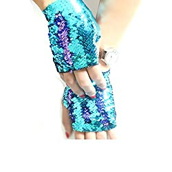 Purple-blue Reversible Sequin Mermaid Fingerless Glove