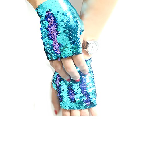 (JACHAM Sequin Gloves,Reversible Mermaid Fingerless Gloves Dance Party Favor Bracelet)