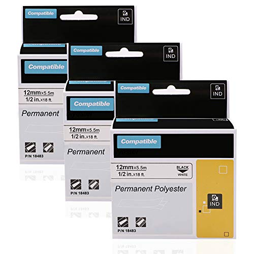 3 Pack Industrial Permanent Labels Polyester Compatible DYMO 18483 for RhinoPro 5200 4200 6000 LabelWriter Label Maker, Black on White, 1/2 Inch