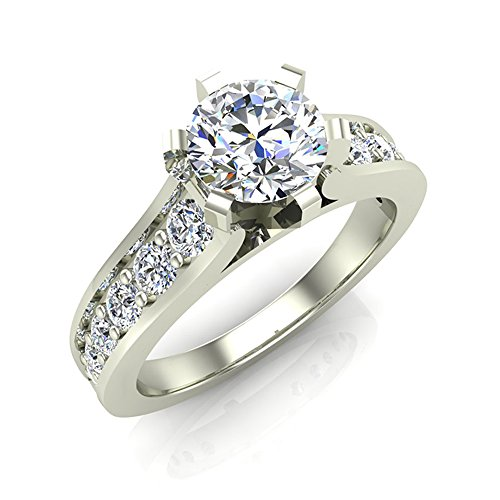 1.00 ctw Riviera Shank Diamond Engagement Ring 18K Gold (G,SI)