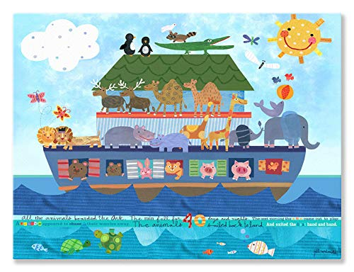 (Oopsy Daisy Noah's Ark Stretched Canvas Wall Art by Jill McDonald, 24 by 18-Inch)