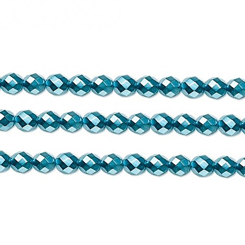 Czech Faceted Round Fire Polished Beads. Preciosa Aqua Carmen 4mm 16 Inch Strand