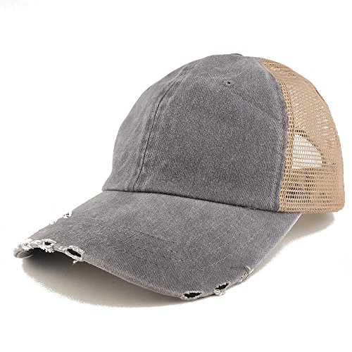 (Trendy Apparel Shop Pigment Dyed Front Mesh Back Frayed Bill Trucker Cap - Grey)