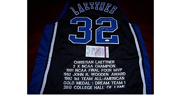ed182a5c4b69 Christian Laettner Signed Jersey - Bluedevils The Shot 2x Ncaa Champs coa - JSA  Certified - Autographed College Jerseys at Amazon s Sports Collectibles ...