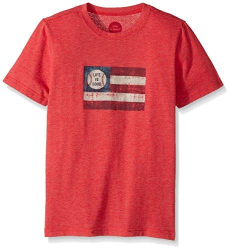 Life is good Boy's B Ss Boys Cool T Baseball Flag Amrred T-Shirt, Americana Red, Small (T-shirt Life Good Baseball Is)