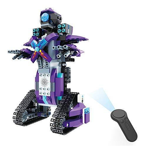 DIY Building Blocks Remote Control Robot Steam Educational RC Smart Robot Electronic Walking Intelligence Toys Kids Boys Girls Christmas (C) ()