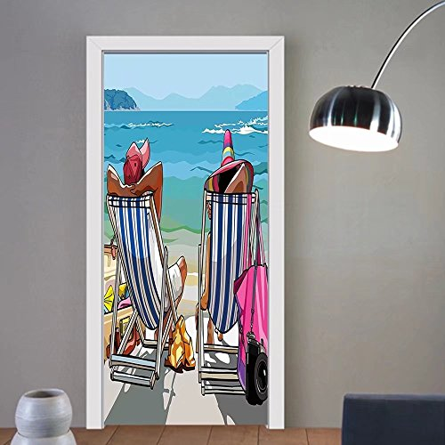 Gzhihine custom made 3d door stickers Summer Couple of Tourists Sunbathing on the Beach Leisure Relaxation Travel Artful Image Multicolor For Room Decor 30x79 by Gzhihine