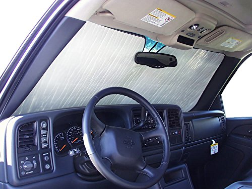 The Original Windshield Sun Shade, Custom-Fit for GMC Sierra 1500 Truck (Extended Cab) 1999, 2000, 2001, 2002, 2003, 2004, 2005, 2006, Silver Series