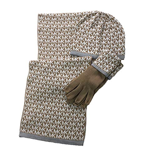 - Michael Kors Women's 3 Piece Set MK Repeat Logo Scarf, Hat & Gloves (Camel/Cream)