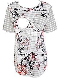 Women Maternity Nursing Tops Floral Stripe Short Sleeve Breastfeeding Shirt Clothes