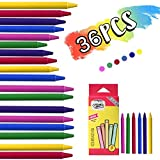 TIANSS 36PCS Wax Crayons Funny Palm-Grip Crayons Washable Safety and Non-Toxic Crayons Cartoon