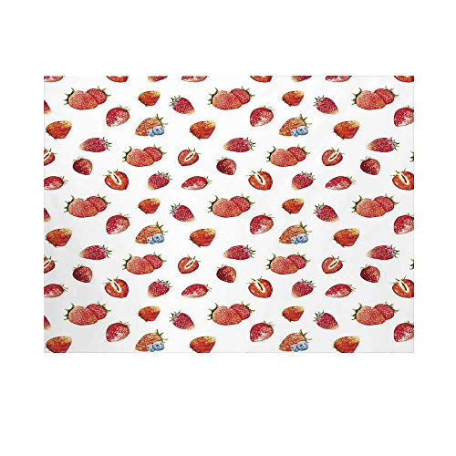 (Watercolor Photography Background,Artful Pattern Ripe Strawberries Blueberries Tasty Fresh Fruits Decorative Backdrop for Studio,10x8ft)