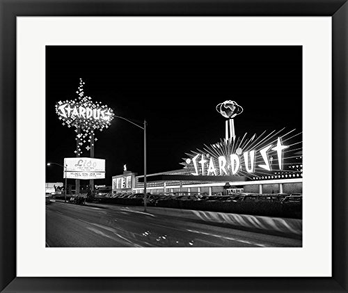 (Great Art Now 1960s Night Scene Of The Stardust Casino Las Vegas by Vintage PI Framed Art Print Wall Picture, Black Frame, 27 x 22 inches)