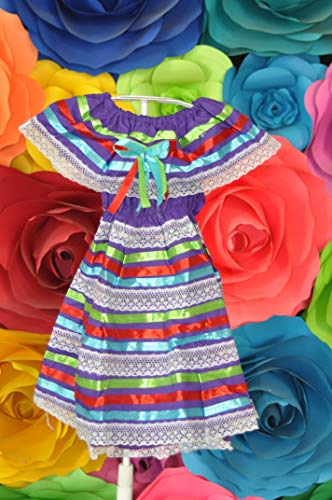 Mexican Child Dress Coco Theme Party Peasent Dress Hippie Dress (Mexican Girl Costume)
