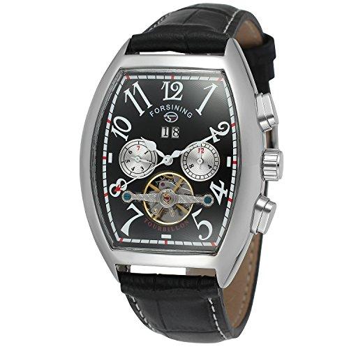 Forsining Men's Automatic Self-wind Tourbillon Calendar Brand Learher Strap Collectiton Watch FSG9409M3S3 (Tonneau Automatic Watch)