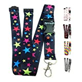 Lanyard Neck Strap for id Card Badge Holder with Safety Clip Breakaway 2cmx43cm SpiriuS for Phone Key Keychain (Rainbow Stars)