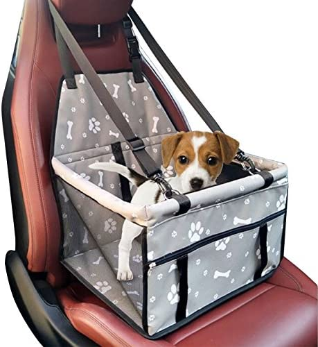 WATTA Car Booster Seat for Dog Cat, Portable Foldable Pet Car Safety Seat Carrier Bag with Clip-On Safety Leash and Zipper Storage Pocket – Two Support Bars