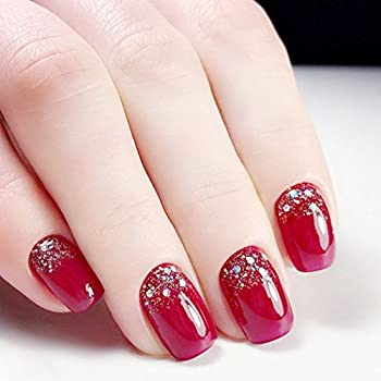 Jovono Full False Nail Tips Wine Red Champagne Sequins Fake Nails for Wedding(No glue)