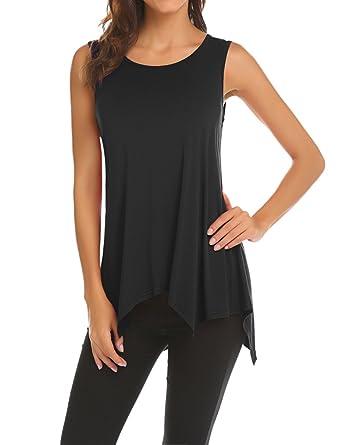 Amazon.com  Qearal Womens Sleeveless T-Shirt Comfy Solid Basic Swing ... 3176b4f25