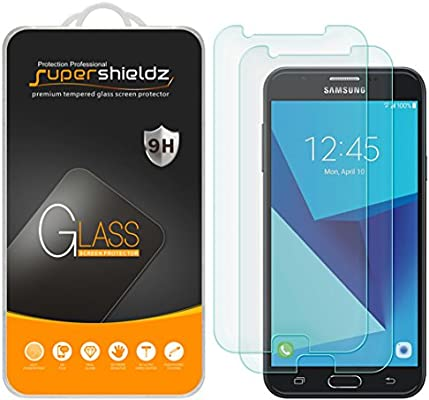 online store 15d56 38e64 Supershieldz (2 Pack) for Samsung Galaxy J7 (2017) Tempered Glass Screen  Protector, Anti Scratch, Bubble Free