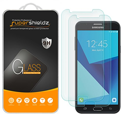 [2-Pack] Supershieldz for Samsung Galaxy J7 V / J7V (Verizon) Tempered Glass Screen Protector, Anti-Scratch, Anti-Fingerprint, Bubble Free, Lifetime Replacement Warranty (Galaxy Phone Screen Protector)