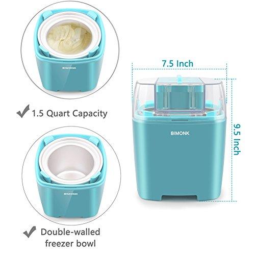 Ice Cream Maker with Detachable Frozen Bowl and Auto Shut-off Timer, 1.5 Quart, BPA Free, Electric ice Cream Machine for Kids DIY Frozen Yogurt, Gelato Or Sorbet Maker by BIMONK (Image #3)