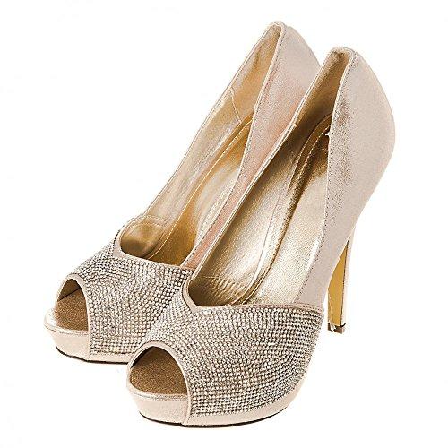 Con Tacón Miss Diva Mujer Dorado Zapatos zOEEq1