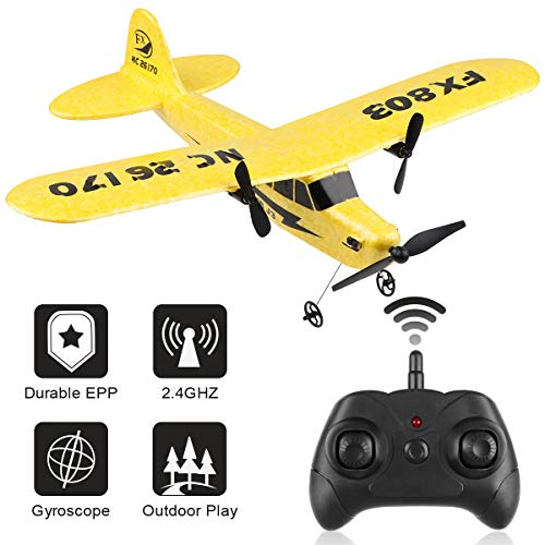 RC Plane Remote Control 2.4GHz 2 Channel RC Airplane FX-803 Built-in 6-Axis Gyro EPP Airplane Ready to Fly RC Aircraft Glider Easy to Fly for Beginner Adult Kids Boys