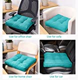 Uther Square Pillow Chair Pad Thickened Tatami Cushion Indoor Outdoor Office Pad (Turquoise,40x40cm)