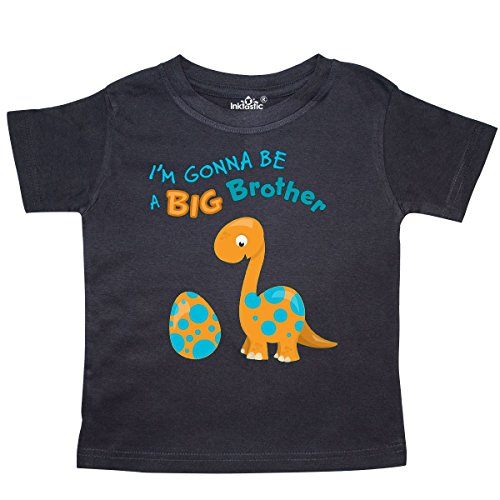 inktastic I'm Gonna Be A Big Brother-Dino Toddler T-Shirt 2T Black - Future Toddler T-shirt