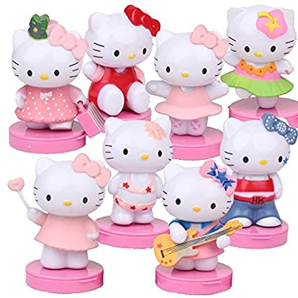 Amazon Com 8pcs Set Hello Kitty Action Figure Mini Anime Hello