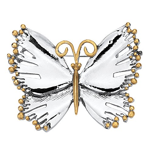 Palm Beach Jewelry Silver Tone and Gold Tone Two Tone Butterfly Brooch Pin (54mm x - Brooch Tone Two Butterfly